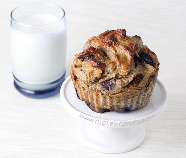 blueberry-protein-muffins-almond milk