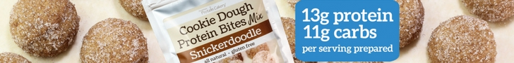 protein cakery snickerdoodle cookie dough protein bites mix ad