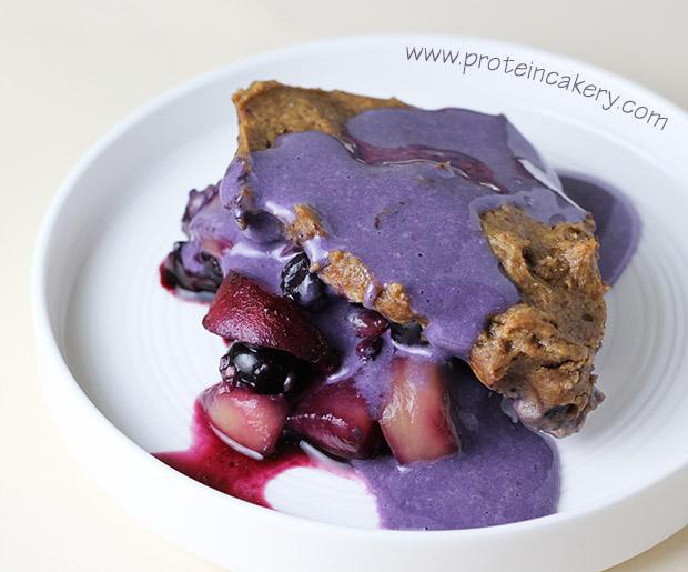 blueberry-peach-protein-cobbler