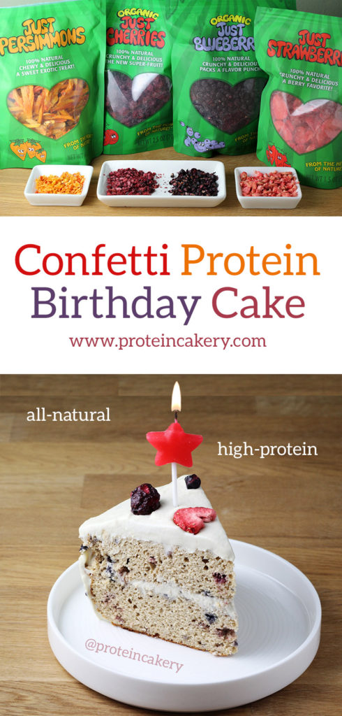 Confetti Protein Birthday Cake - gluten free, low carb, high protein, all natural