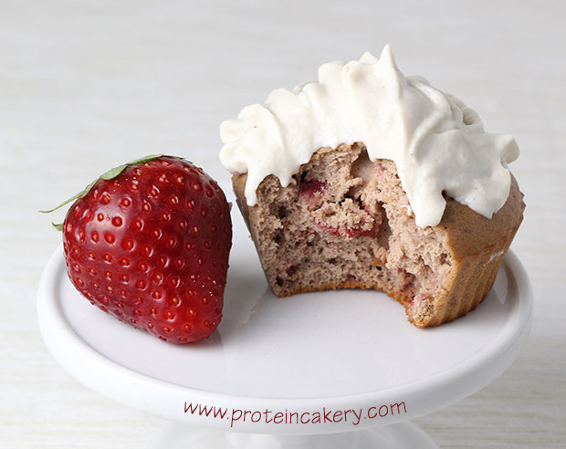strawberry-protein-cupcakes