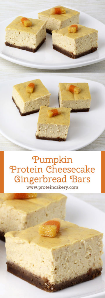 Pumpkin Protein Cheesecake Gingerbread Bars - low carb, gluten free - by Andréa's Protein Cakery