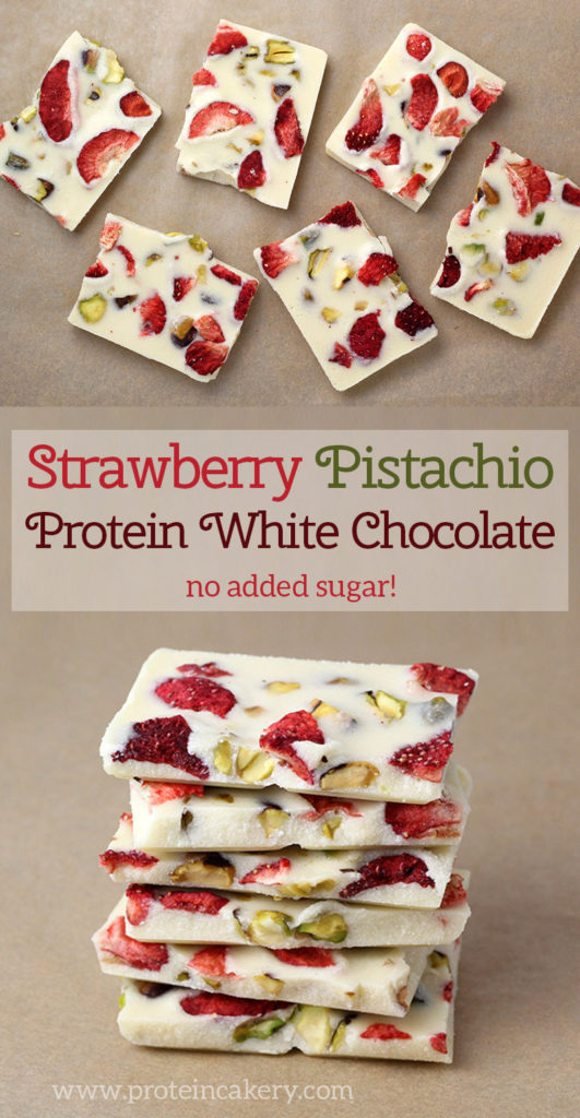 Strawberry Pistachio Protein White Chocolate - low sugar, low carb - Andréa's Protein Cakery