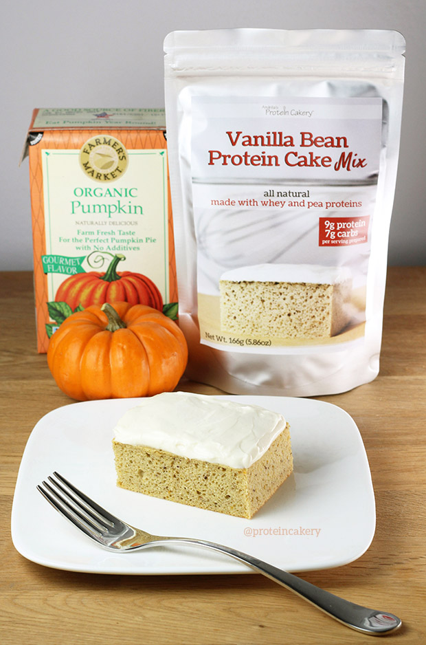 Pumpkin Protein Cake made with Vanilla Bean Protein Cake Mix by Andréa's Protein Cakery