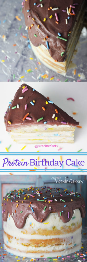 Protein Birthday Cake with All-Natural Sprinkles - gluten-free, high-protein, low sugar, diet birthday cake