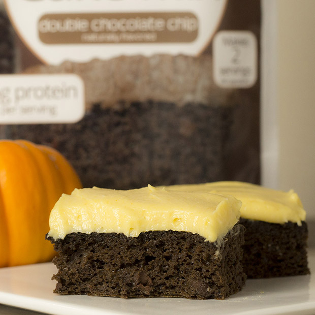 frosted pumpkin brownie cake with protein