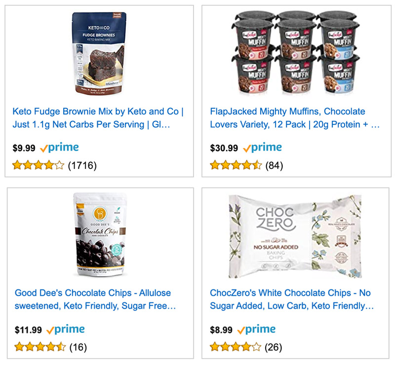 Low carb baking mixes on Amazon